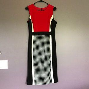 Enfocus Studio Dresses - Sleeveless red/black/white dress